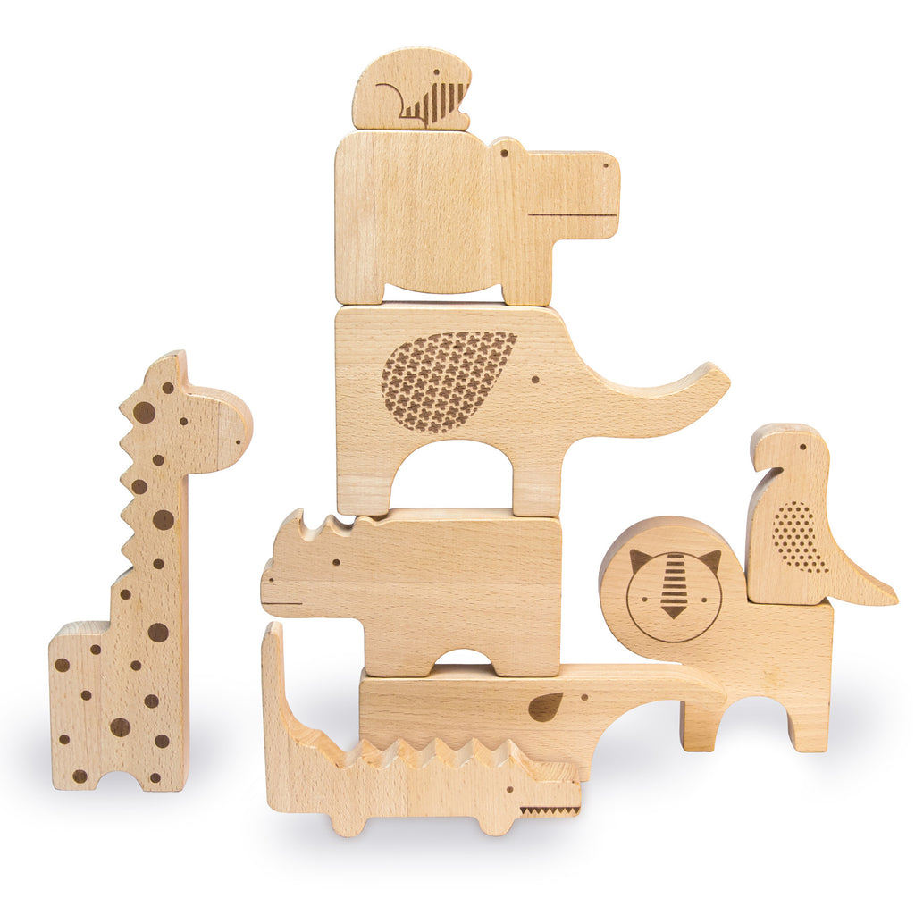 PETIT COLLAGE - Safari Wood Puzzle and Play Set