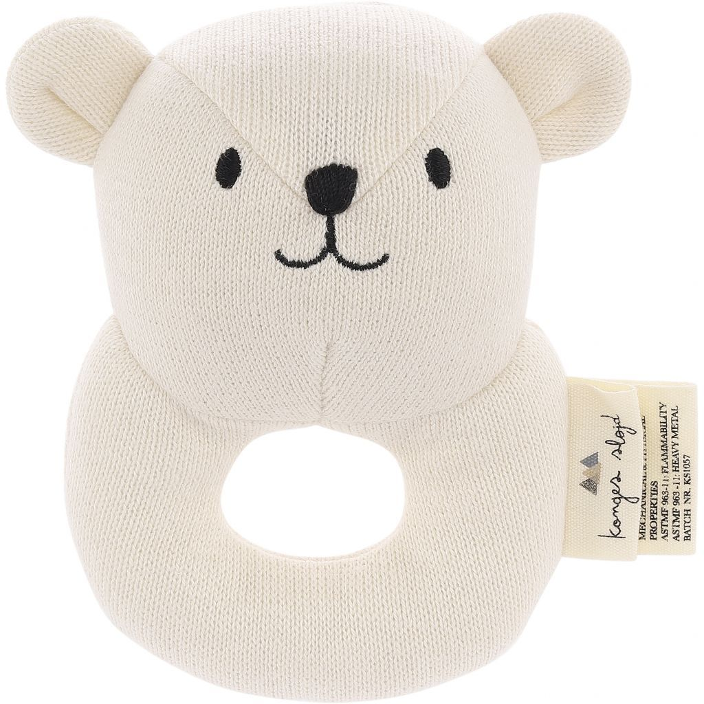 KONGES SLØJD - Quro Mini Bear Soft Toy/Rattle - Off White