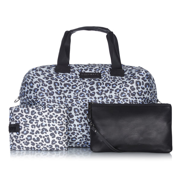 Tiba + Marl - stylish, unisex changing and weekend bags for modern parents - RAF Weekender Leopard