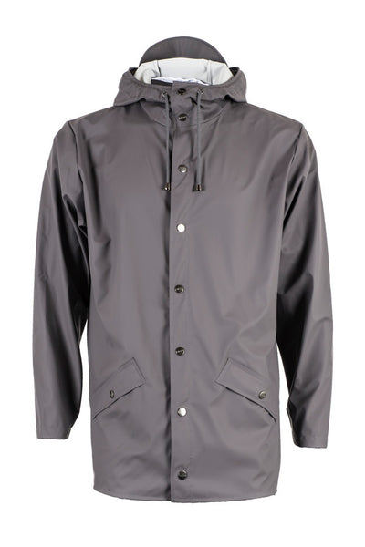 Stylish modern Scandinavian rainwear by Danish brand RAINS. Rains Jacket in Smoke.  Raincoat rain jacket.