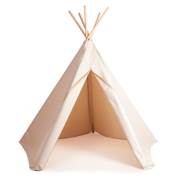Natural tipi teepee play tent by Danish brand Roommate organic cotton adventure themed toy