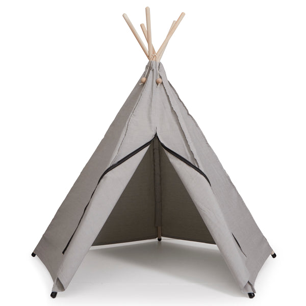 Stone grey tipi teepee play tent by Danish brand Roommate organic cotton adventure themed toy