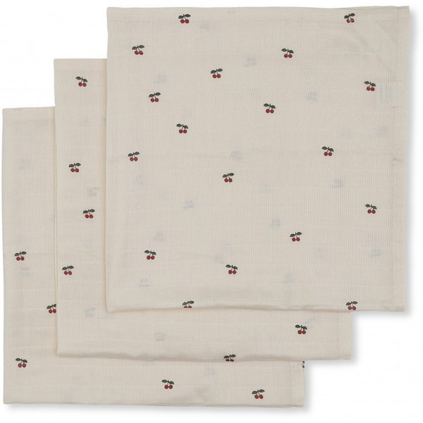 KONGES SLØJD - Muslin Cloths (pack of three) - Cherry