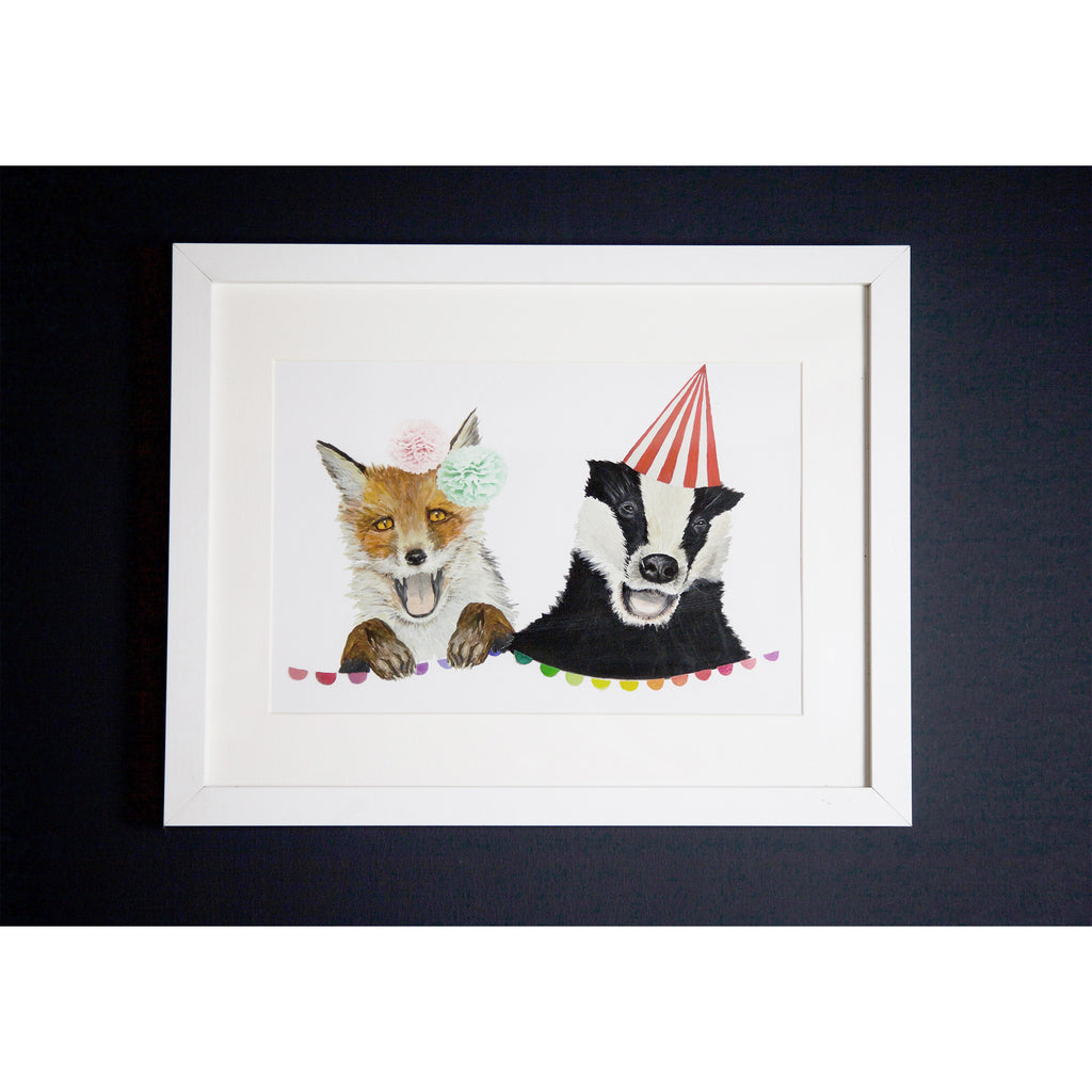Fox and Badger art print A4 size by independent British brand Wild Hearts Wonder