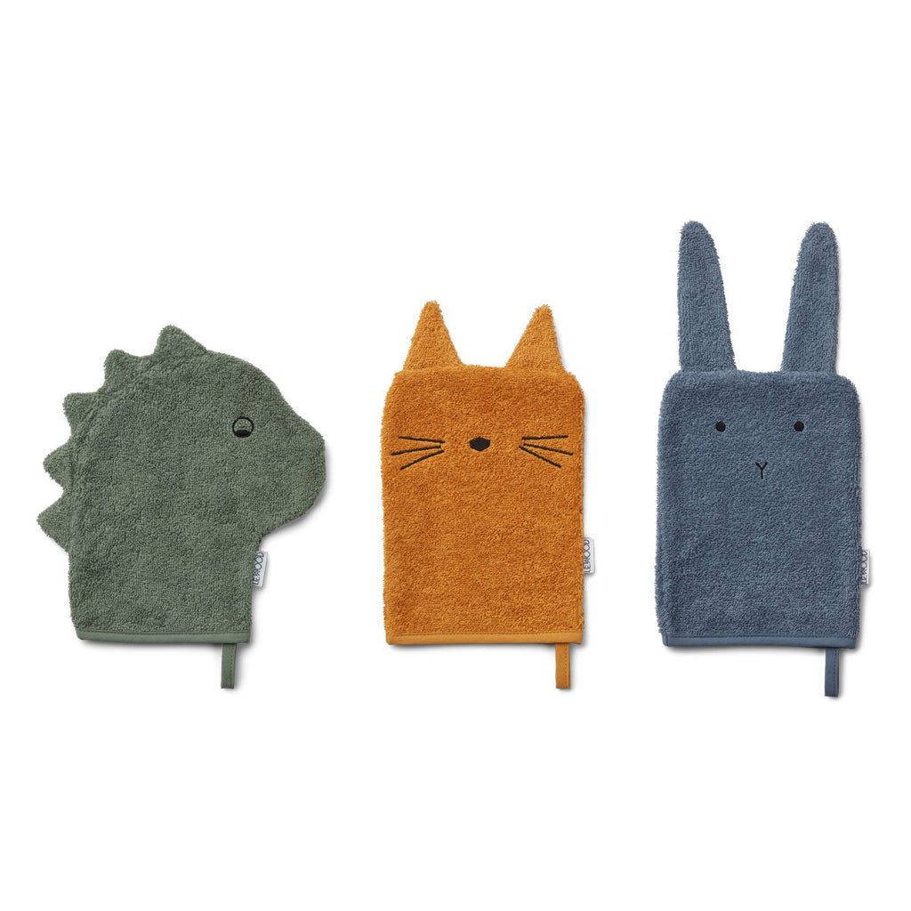 LIEWOOD - Sylvester Washcloths (Three Pack) - Dino faune green