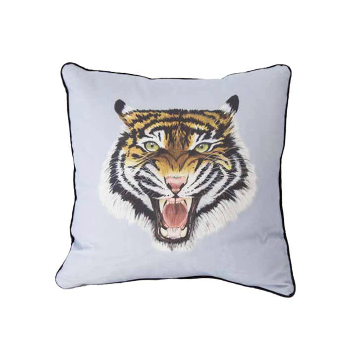 Wild tiger print cushion in grey and blue by independent British brand Wild Hearts Wonder featuring tiger print on the front and animal spot print on the reverse