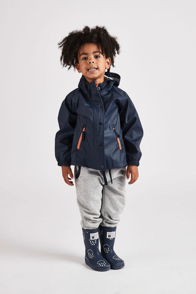 Boys Navy Rainster waterproof jacket by British brand Grass & Air - modern, stylish rainwear for kids