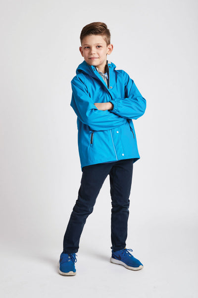 Boys Turquoise Rainster waterproof jacket by British brand Grass & Air - modern, stylish rainwear for kids