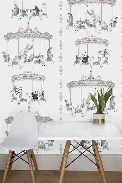 WILD HEARTS WONDER - Wallpaper - Carousel Animal - White
