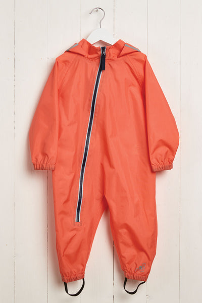 Coral Stomper Suit waterproof puddle suit by British brand Grass & Air - modern, stylish rainwear for kids