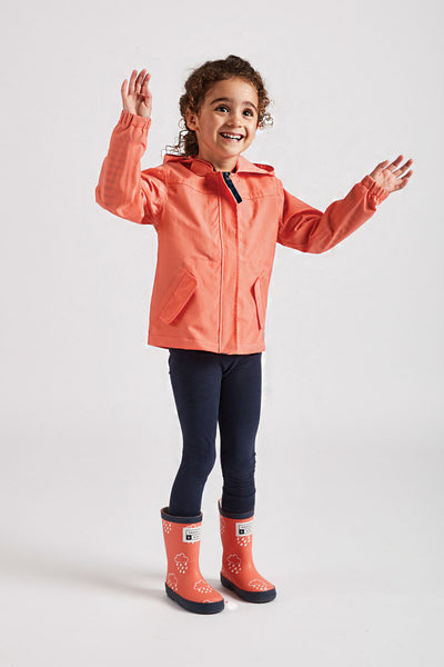 Coral Rain Cheater waterproof jacket by British brand Grass & Air - modern, stylish rainwear for kids