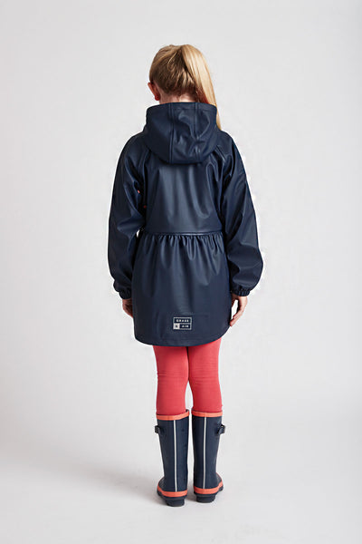 Girls Navy Rainster waterproof jacket by British brand Grass & Air - modern, stylish rainwear for kids