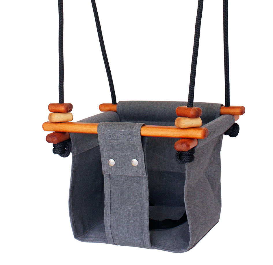 Solvej baby toddler indoor/outdoor swings - Smokey Grey - hand crafted modern toys