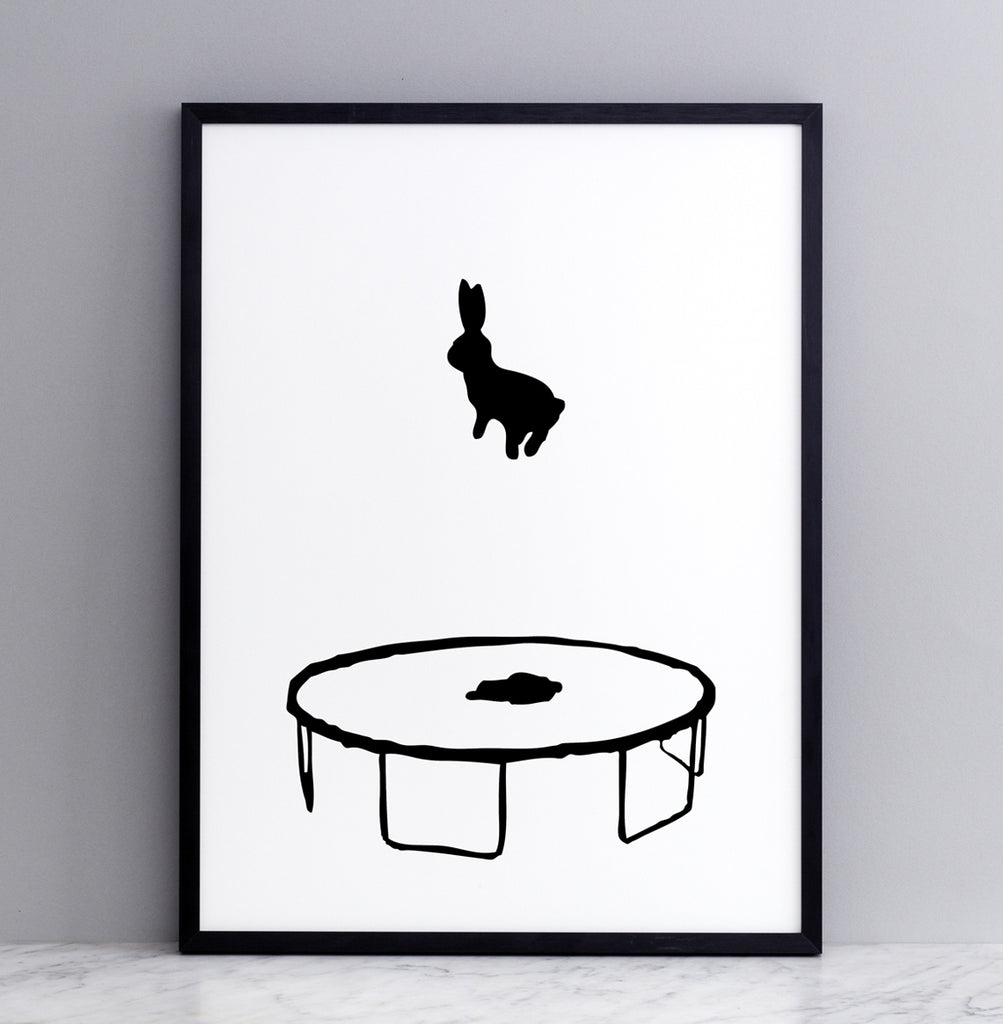 HAM studio by Joanna Ham - rabbit prints designed and hand screen printed in London, UK - modern monochrome kids interiors - bouncing rabbit