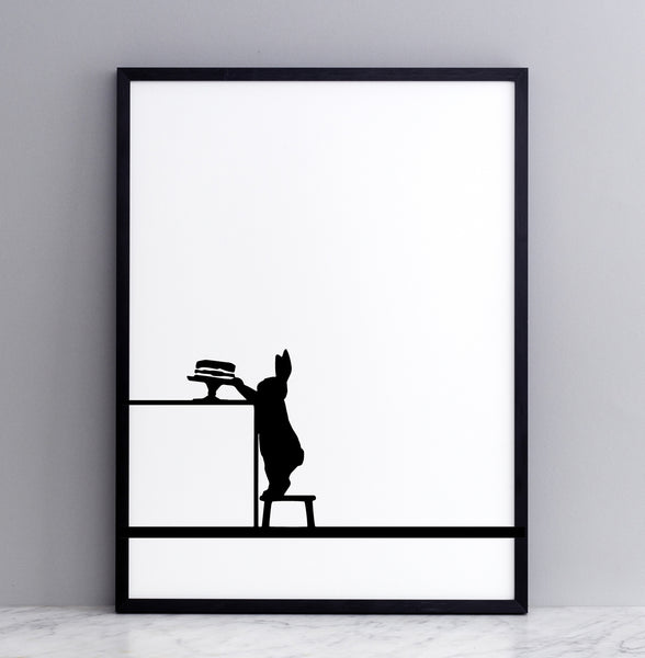 HAM studio by Joanna Ham - rabbit prints designed and hand screen printed in London, UK - modern monochrome kids interiors - cake loving rabbit
