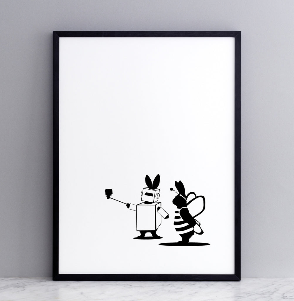 HAM studio by Joanna Ham - rabbit prints designed and hand screen printed in London, UK - modern monochrome kids interiors - fancy dress rabbit