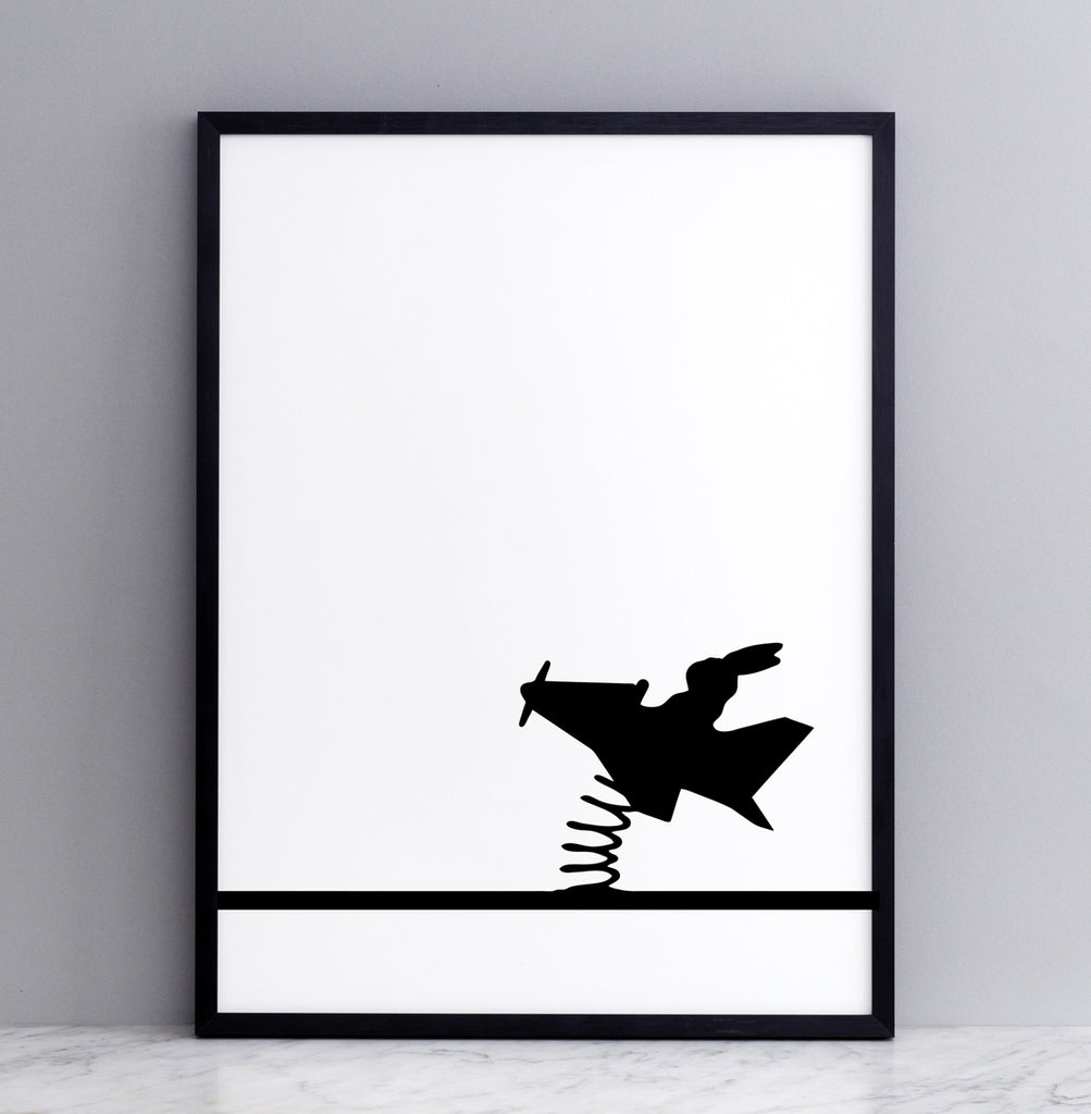 HAM studio by Joanna Ham - rabbit prints designed and hand screen printed in London, UK - modern monochrome kids interiors - flying rabbit