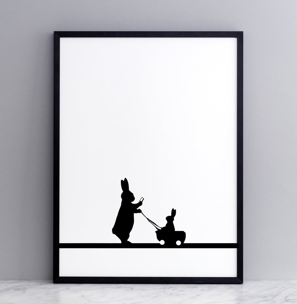 HAM studio by Joanna Ham - rabbit prints designed and hand screen printed in London, UK - modern monochrome kids interiors - insta baby rabbit
