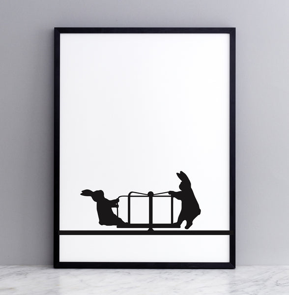 HAM studio by Joanna Ham - rabbit prints designed and hand screen printed in London, UK - modern monochrome kids interiors - roundabout rabbit