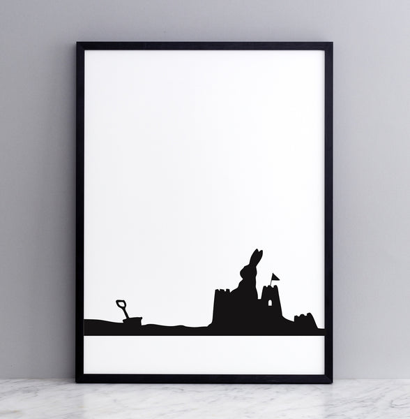 HAM studio by Joanna Ham - rabbit prints designed and hand screen printed in London, UK - modern monochrome kids interiors - seaside rabbit
