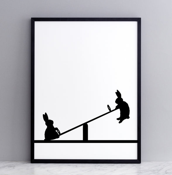 HAM studio by Joanna Ham - rabbit prints designed and hand screen printed in London, UK - modern monochrome kids interiors - seesawing rabbit