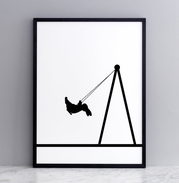 HAM studio by Joanna Ham - rabbit prints designed and hand screen printed in London, UK - modern monochrome kids interiors - swing rabbit