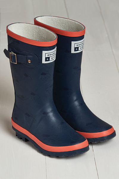 Navy and Coral Wellies by British brand Grass & Air - modern, stylish rainwear for kids