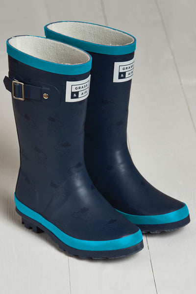 Navy and Turquoise Wellies by British brand Grass & Air - modern, stylish rainwear for kids