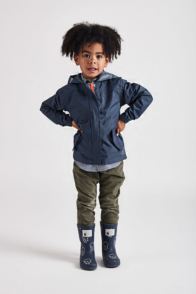 Navy Rain Cheater waterproof jacket by British brand Grass & Air - modern, stylish rainwear for kids