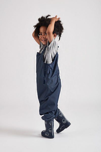 Navy Stomper Slacks waterproof wader trousers by British brand Grass & Air - modern, stylish rainwear for kids