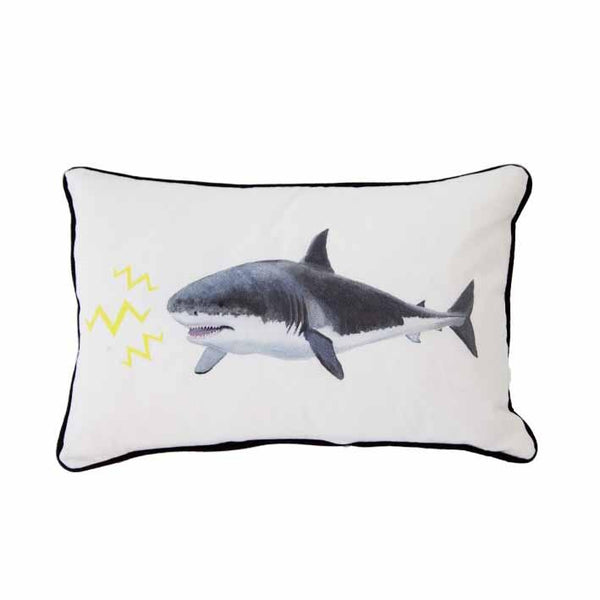 Shark print cushion by independent British brand Wild Hearts Wonder featuring hand drawn shark print on the front and animal spot print on the reverse