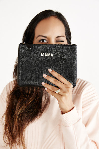 JEM + BEA Mama clutch grey white leather. Modern stylish changing bags and accessories. UK stockist. Free shipping. Discount when subscribe for newsletter.