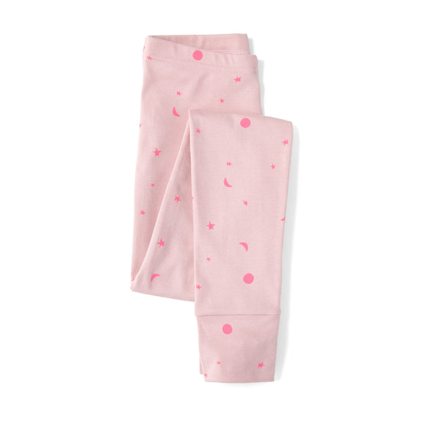 SLEEPY DOE Mumma Leggings in Pink on Pink Neon Moons