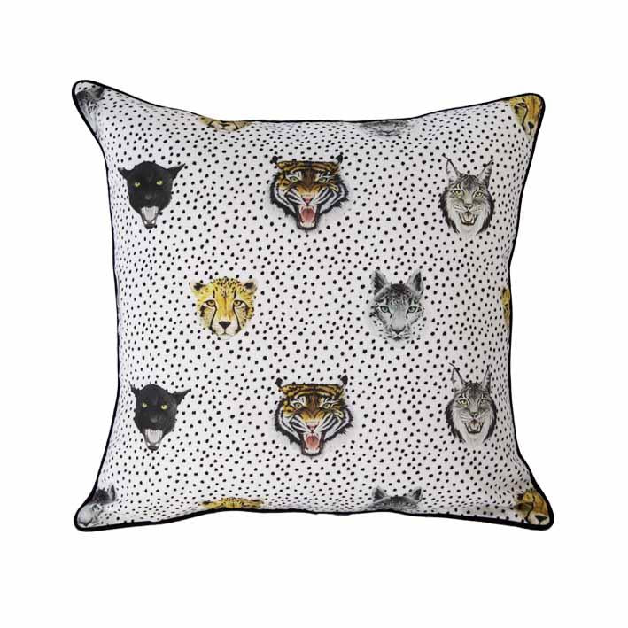 Wildcat print cushion by independent British brand Wild Hearts Wonder featuring multiple wildcats on the front and monochrome tiger stripe print on the reverse