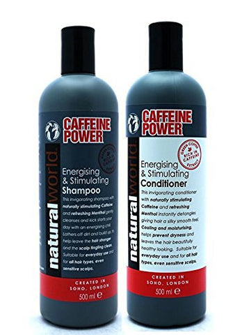 Natural World Caffeine Power Energising & Stimulating Shampoo and Conditioner 500ml - total hair and beauty
