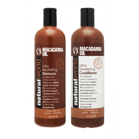 Natural World Macadamia Oil Ultra Nourishing Shampoo and Conditioner 500ml