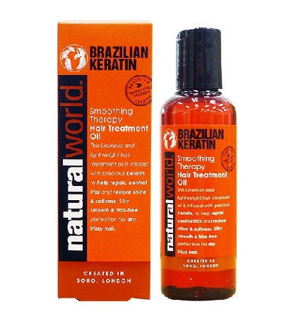 Natural World Brazilian Keratin Smoothing Therapy Hair Treatment Oil 100ml - total hair and beauty