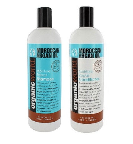 Natural World Argan Oil of Morocco Moisture Rich Shampoo and Conditioner 500ml - total hair and beauty