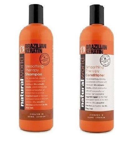 Natural World Brazilian Keratin Smoothing Therapy Shampoo and Conditioner 500ml - total hair and beauty