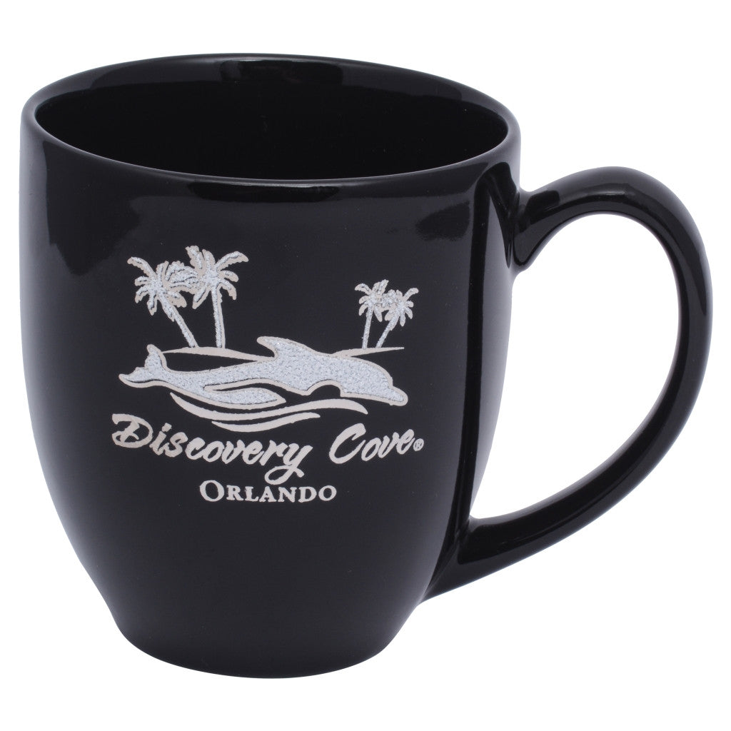 Discovery Cove Iced Dolphin Logo Black Coffee Mug