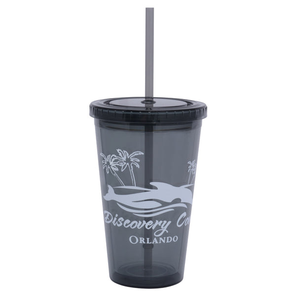 Discovery Cove Iced Dolphin Double Wall Cup With Straw
