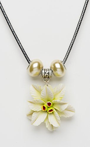 White Poinsettia Pendant Necklace with Beads