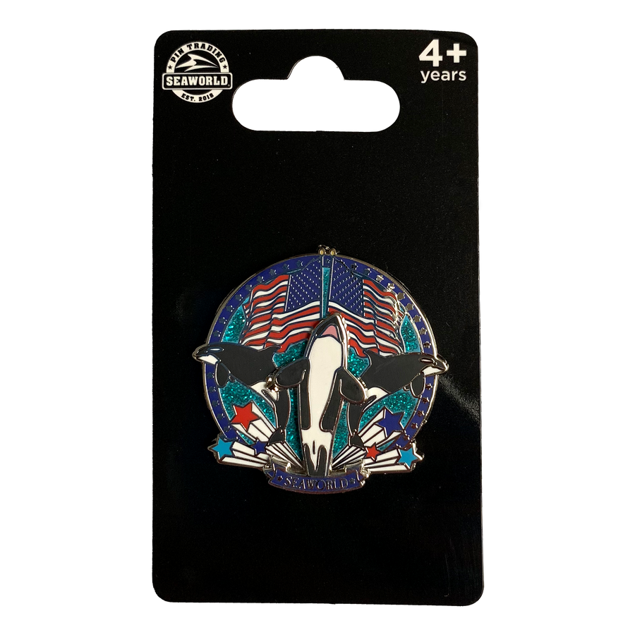 Shamu American Flags Pin