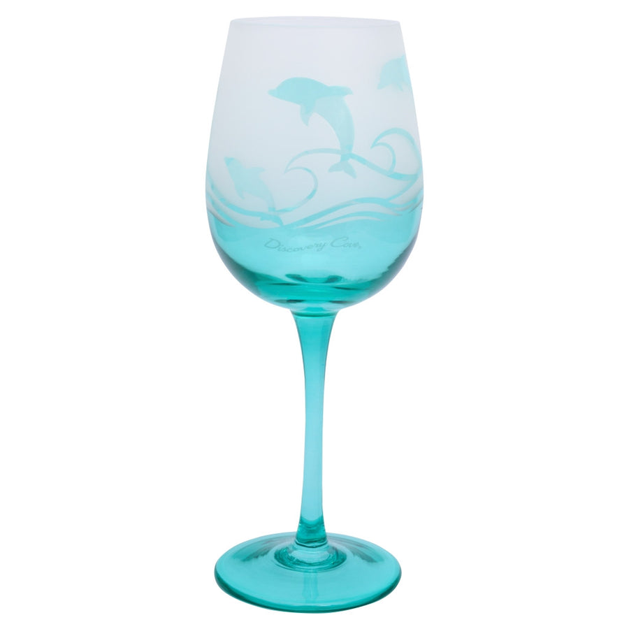 Discovery Cove Frosted Dolphin Wine Glass