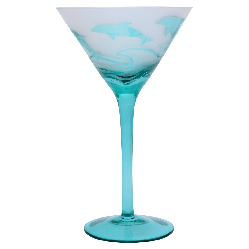 Discovery Cove Frosted Dolphin Martini Glass