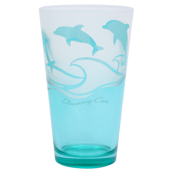 Discovery Cove Frosted Dolphin Glass Tumbler
