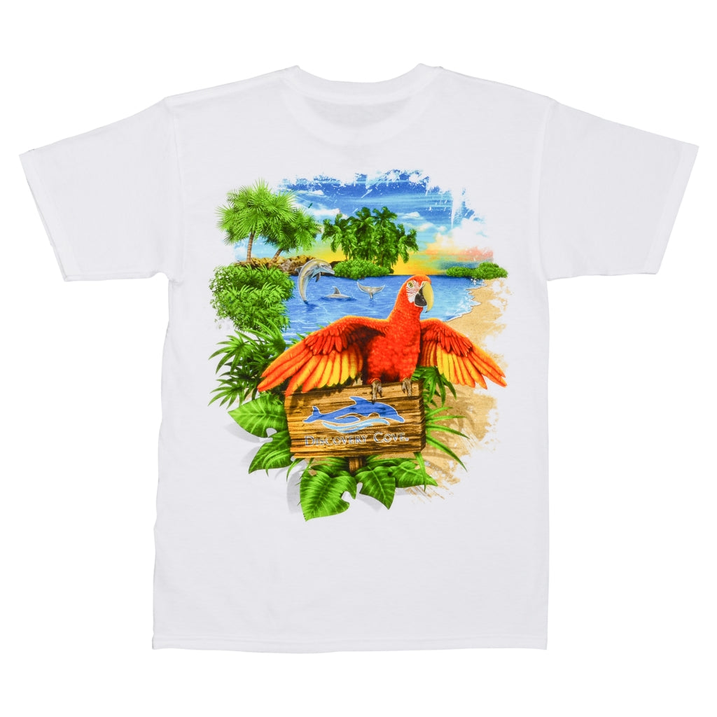 Discovery Cove Parrot and Dolphin White Adult Tee