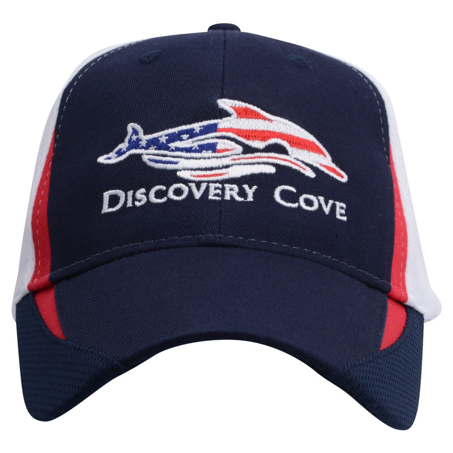 Discovery Cove Logo Performance Adult Navy Baseball Cap
