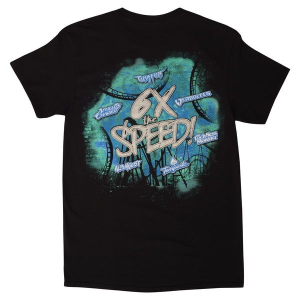 Busch Gardens Williamsburg 6 X's The Speed Black Adult Tee