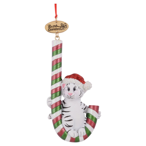 Busch Gardens White Tiger with Candy Cane Ornament